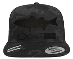 Salt Waters Striped Bass SnapBack Hat Black Out