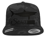 Salt Waters Shark SnapBack Hat Black Out