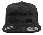 Salt Waters Long Island SnapBack Hat Black Out
